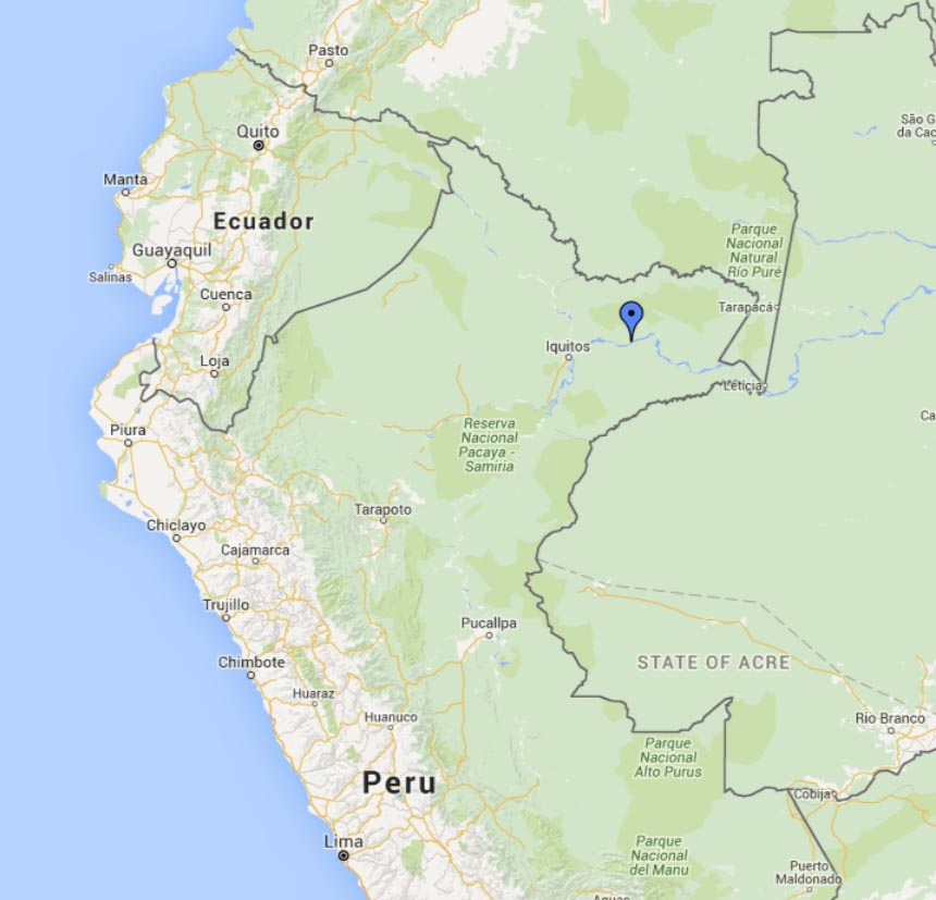 Map showing where Amazon recordings were made in Peru